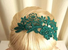 craft inspiration - phalenopsis lace headband in teal