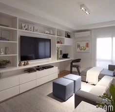 Living Room Tv Wall Built Ins Cabinets 62 Ideas For 2019 Living Room Tv, Apartment Living, Home Office Design, Home Interior Design, Interior Stairs, Small Apartments, Small Spaces, Muebles Living, Small Apartment Decorating