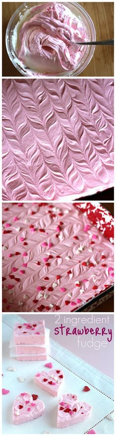 "Strawberry 2 Ingredient Fudge (1) Melt the white chocolate chips. (2) Mix-n-blend the melted chips with the strawberry frosting,  (3) Spread the mixture evenly into a 9"" x 9"" pan. (make a swirl or wavy pattern, across the top surface) (4) Place in the fridge for about 30 min. (5) Decorate w/ spwinkles. (6) Cut into squares and serve."