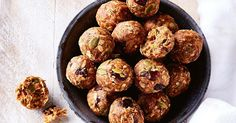 Fresh dates and dried cranberries add natural sweetness to these healthy oat balls.