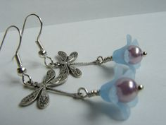 Silver Dragonfly on Blue Flower Earrings blue by pearlandwater, $14.00