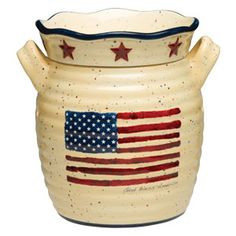 United States Flag. Stars and Stripes. Scentsy's June God Bless Scentsy Warmer, God Bless proudly waves the good ol' red, white, and blue on a weathered cream background while rustic red stars encircle the warmer dish. USA FLAG https://geneschur.scentsy.us/Scentsy/Buy/ProductDetails/22201