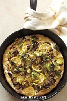 This delicious recipe is a quick and easy route to homemade pizza; it uses store-bought dough topped with Brussels sprout leaves, lemon slices, and both mozzarella and Pecorino Romano cheese. It's a simple combination that tastes indulgent. #marthastewart #recipes #recipeideas #vegetablerecipes #vegetable Romano Cheese, Brussels Sprout, Lemon Slice, Deep Dish, Pizza Recipes, Vegetable Recipes, Mozzarella, Sprouts, Great Recipes