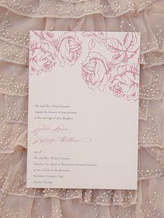 rustic roses wedding invitation