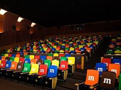 M&Ms take over a movie theatre. Delicious!