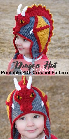 f2196d6dbf5 Make a dragon hat. animal hat crochet patterns - crochet pattern pdf -  amorecraftylife.com  hat  baby  crochet  crochetpattern