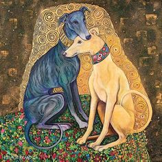 Oh my I love this image. It shows all the love Greyhounds have amidst a Gustav Klimt inspired background a la Klimt's The Kiss.