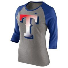Nike Texas Rangers Women's Gradient Three-Quarter Length T-Shirt - Gray/Royal Blue