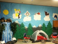 Camp themed VBS  Love the mounts and tree background...possible bulletin board idea