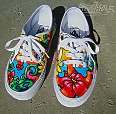 ALOHA Custom Hand Painted Vans Authentics Shoes by Chadcantcolorcustoms.com Perfect for a Hawaii beach trip!