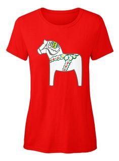 Vit dalahäst, white Dala Horse t-shirt.  #dalahorseshirt #dalahorsetshirt #dalahorse #dalahästshirt #dalahäst #sverige #svenska #horse #häst #illustration