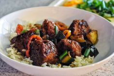 Ginger turkey meatballs with hoisin glazed zucchini + peppers • drink+devour