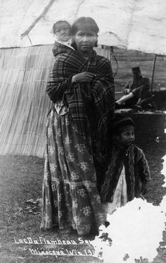 A Chippewa mother with two children at Minocqua, Wisconsin. This image is part of an exhibit about Native Americans prepared by Paul Vanderbilt, the first curator of photography at the Wisconsin Historical Society. Native American Images, Native American Tribes, Native American History, Native Americans, Minocqua Wisconsin, Indigenous Knowledge, Native Place, African Diaspora, It Goes On