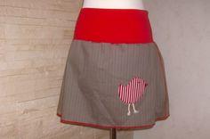 Jeans Rock ♥ braun Vogel L/XL von Label 1912 auf DaWanda.com