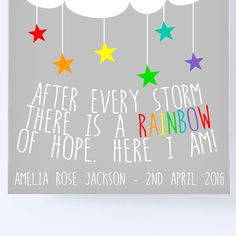 This bright rainbow nursery print is the perfect gift for a rainbow baby. This beautiful print can be personalised to show the babies birth details, making a feature of this miracle babies birth on their nursery wall. Urban dictionary: A rainbow baby is a baby that is born following a miscarriage, still birth or loss of a child.  In the real world, a beautiful and bright rainbow follows a storm and gives hope of things getting better. The rainbow is more appreciated having just experienced…
