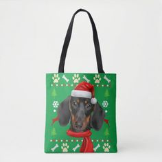 Dachshund Dog Ugly Christmas Tote Bag dapple dachshund, dachshund gifts, dachshund memes #dachshundsofinstagrams #dachshundslovers #dachshundsdownunder, back to school, aesthetic wallpaper, y2k fashion Dapple Dachshund Puppy, Dachshund Puppies For Sale, Baby Dachshund, Dachshund Gifts, Funny Dachshund, Dachshund Tattoo, Dachshund Quotes, Father's Day, Puppy Clothes