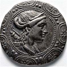 #macedonian #coins - A tetradrachm from the #ancient #Greek kingdom of #Macedonia , #Greece ca. 155 BC depicting the ancient Greek #Goddess , #Artemis .