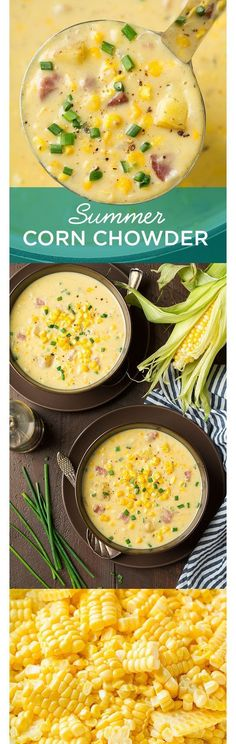 Summer Corn Chowder - the perfect summer soup! The light, fresh taste of corn off the cob combines with crispy bacon and the sharpness of chives for a refreshing summer chowder that's sure to become a new favorite! Looks delish! Summer Corn Chowder, Cooking Recipes, Healthy Recipes, Cooking Tips, Meal Recipes, Lunch Recipes, Healthy Meals, Breakfast Recipes, Vegetarian Recipes