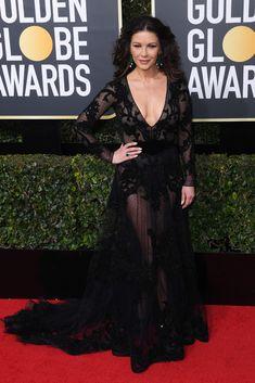 Catherine Zeta-Jones wears Zuhair Murad Couture in Annual Golden Globe Awards, Arrivals, Los Angeles, USA – Jan 2018 (REX/Shutterstock) Oscar Dresses, Sexy Dresses, Nice Dresses, Catherine Zeta Jones, Golden Globe Award, Golden Globes, Zuhair Murad, Vogue, Glamour