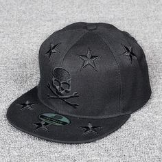 Skull Embroidered Snapback Cap