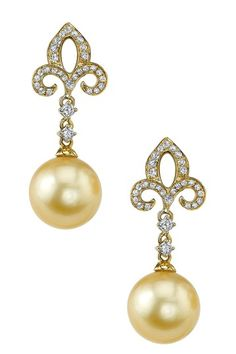 14K Yellow Gold 9mm Golden South Sea Pearl & Diamond Fleur-de-Lis Earrings on HauteLook