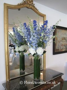 Wedding flowers - tall dramatic vase arrangement with hydrangeas & delphiniums - by Floral Accents