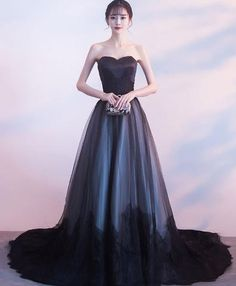 Elegant light pink tulle long prom dress, pink evening dress