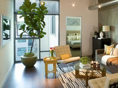 Small living room with city view - on HGTV