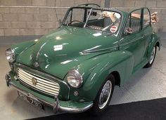 1955 Morris Minor Convertible, finished in almond green with a cream hood, complemented by a matching green leather interior piped in grey.