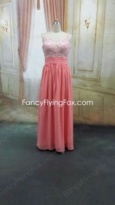 Double Straps Watermelon Prom Dress With Great Handworks  $178.00