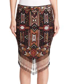 Haute Hippie | Multicolor Apache Embellished Fringe Skirt | Lyst