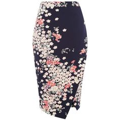 Oasis Kimono Wrap Pencil Skirt (€49) ❤ liked on Polyvore featuring skirts, summer skirts, blue floral skirt, floral knee length skirt, floral print pencil skirt and asymmetrical wrap skirt