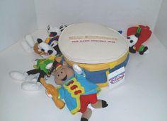 Disney Store Silly Symphony Band Concert Set Drum Set 4 Beanie Plush Toys Mickey