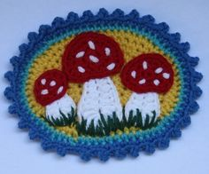 Patches with Mushrooms x3 Crochet Pattern by CAROcreated on Etsy