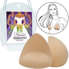 50afe0a352 Triangle Plus (Style bra pad inserts foam shapers for wedding dress with a  modest built-in push up. Perfect for formal attire