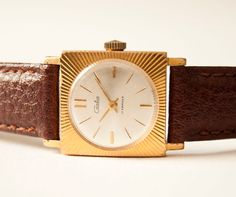 Vintage women's watch gold plated brown tone USSR by SovietEra, $52.00