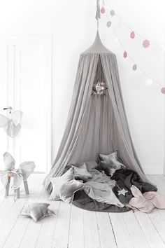 Grey canopy by Sebra Interior. Children's hanging canopy beautiful above a bed or in a playroom, children's room decor Cottage Toys UK Deco Kids, Little Girl Rooms, Kid Spaces, My New Room, Kids Decor, Cabana, Girls Bedroom, Bedroom Ideas, Kids Playing