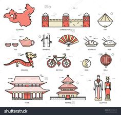 Country China Travel Vacation Guide Of Goods, Places In Thin Lines Style Design. Set Of Architecture, Fashion, People, Nature Background Concept. Infographic Template For Web And Mobile On Vector Flat - 337440719 : Shutterstock