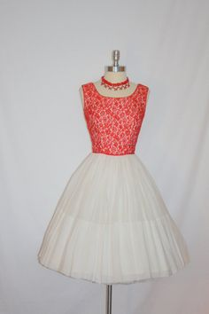 Fantastic 1950's Red Lace with Rhinestones Bodice and White SHEER Chiffon Skirt