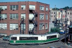 """Other than the last few PCC trolleys, the only rolling stock on the Green Line in 1984 was the notoriously unreliable Boeing Vertol Light Rail Vehicle which had been put into service in the late 70s. When I first started riding them, they still had sliding """"plug doors"""" and air conditioning units under the floor"""