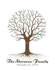 I would like to do this for our family Thanksgiving or Christmas where each guest puts their fingerprint and name as a leaf on the tree.  Personalized Dad / Family Tree Thumbprint / by CustombyBernolli,