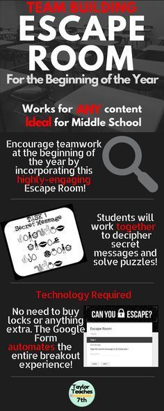Escape Room – Team Building – Any Content GALA ideals and information themed, solved in small advisory groups Middle School Classroom, Middle School Science, Middle School Advisory, Back To School Gifts For Teachers, Beginning Of The School Year, First Day Of School, Escape Room Team Building, Classroom Activities, Icebreakers For Kids