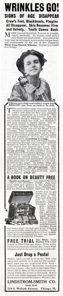 White Cross Electric Vibrator -1912 for 'wrinkles'