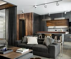 Proiect de amenajare masculină într-un apartament de 3 camere Apartment Interior, Apartment Design, Design Loft, House Design, Casa Octagonal, Home Living Room, Living Room Designs, Decor Interior Design, Interior Decorating