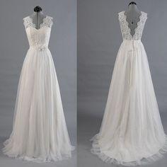 Best Sale Vantage V-Back Lace Top Simple Design Wedding Party Dresses, WD0036 (Top Ideas Design)