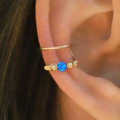 Dark Blue Opal Ear Cuff Ear Cuff Fake Piercing No Piercing
