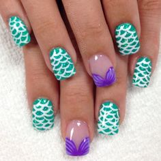 Add some inspiration from under the sea to your next manicure with mermaid nails. Take a peek at some of our favorite mermaid nail art designs. Nail Art Disney, Disney Nail Designs, Girls Nail Designs, Cute Nail Designs, Disney Toe Nails, Disney Princess Nails, Disney Princesses, Simple Disney Nails, Disney Manicure