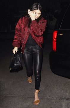 Need a new night-out look? Try Kendall Jenner's. She wore a Kanye Life of Pablo jacket with RTA jeans and suede Aquazzura sandals.