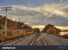 Railroad In A Fall Sunset Стоковые фотографии 39989548 : Shutterstock Splashback, Railroad Tracks, Photo Editing, Royalty Free Stock Photos, Sunset, Fall, Illustration, Editing Photos, Autumn