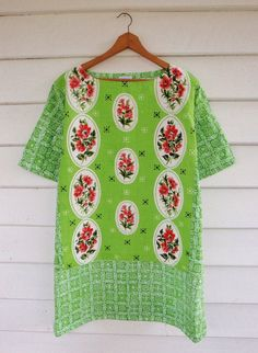 Womens Tunic Dress Mini Upcycled 70s Floral Linen by apieceofpie, $95.00